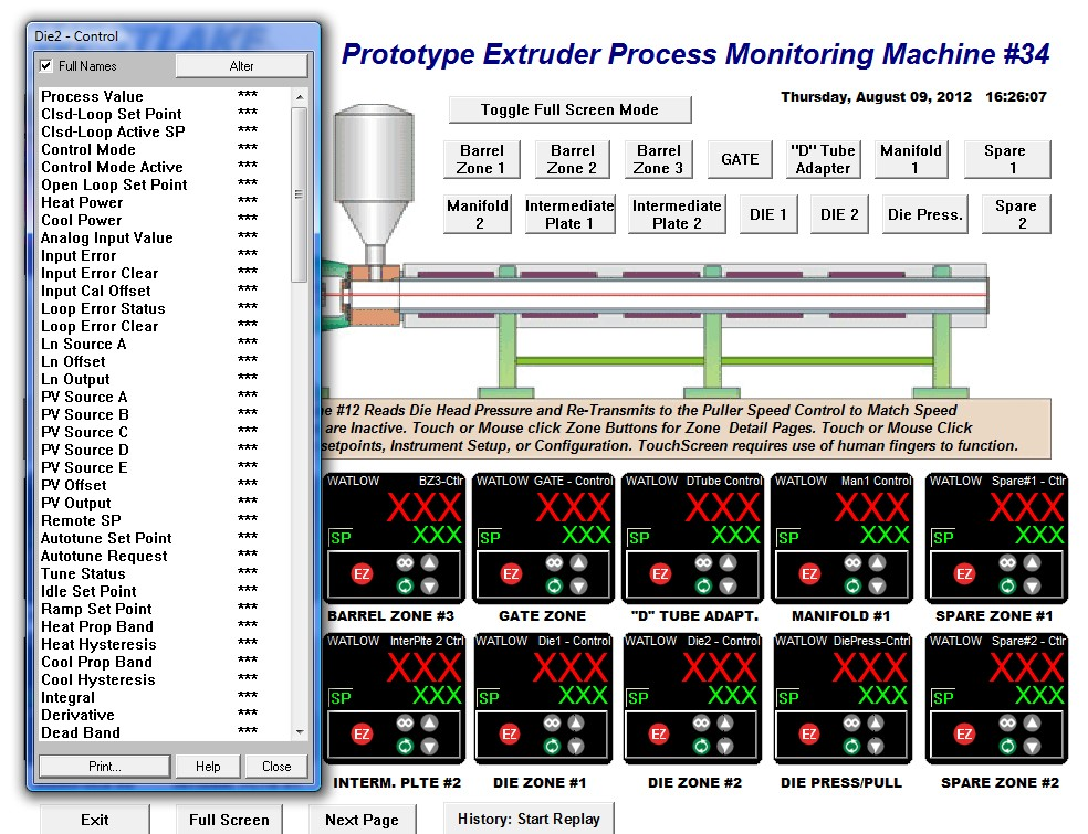 PMI Demo 12 zone Extruder Parameters Die 2 Page 08-09-12