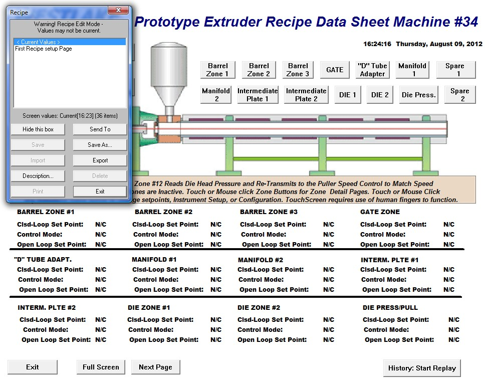 PMI Demo 12 zone Extruder Recipe Saving Page 08-09-12